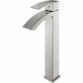 VIGO Duris Bathroom Vessel Faucet in Brushed Nickel,  Faucet Height: 12'', Spout Height: 9'', Spout Reach: 4 7/8'