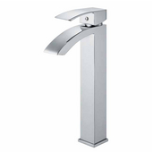 Chrome Finish Bathroom Vessel Faucet, Wide Straight Handle