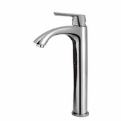 Linus Chrome Finish Bathroom Vessel Faucet, Gooseneck Handle