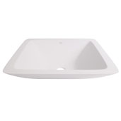 Begonia Matte Stone Vessel Bathroom Sink in Matte White, 16-5/8'' W x 16-5/8'' D x 3-1/2'' H