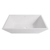 Vinca Matte Stone Vessel Bathroom Sink in Matte White, 18-1/8'' W x 13-3/4'' D x 4-1/2'' H