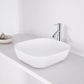 Camellia Matte Stone Vessel Bathroom Sink in Matte White, 14-1/4'' W x 14-1/4'' D x 4-3/8'' H