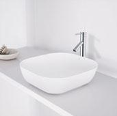 Camellia Matte Stone Vessel Bathroom Sink in Matte White, 14-1/4'' W x 14-1/4'' D x 4-3/8'' H