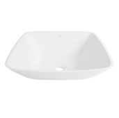 Hyacinth Matte Stone Vessel Bathroom Sink in Matte White, 13-3/4'' W x 13-3/4'' D x 3-1/2'' H
