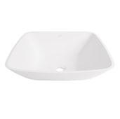 Hyacinth Matte Stone Vessel Bathroom Sink in Matte White, 13-3/4'' W x 13-3/4'' D x 3-1/2'' H