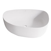 Peony Matte Stone Vessel Bathroom Sink in Matte White, 20-1/4'' W x 15-1/2'' D x 5'' H