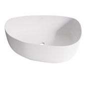 Peony Matte Stone Vessel Bathroom Sink in Matte White, 20-1/4'' W x 15-1/2'' D x 5'' H