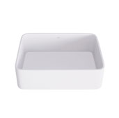 Jasmine Matte Stone Vessel Bathroom Sink  in Matte White, 18'' W x 14-1/2'' D x 5'' H