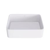 18'' Wide Jasmine Matte Stone Vessel Bathroom Sink  in Matte White