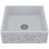 VIGO Aster Square Cast Stone Vessel Bowl Bathroom Sink, 14-1/2''W x 14-1/2''D x 5''H