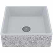 VIGO Aster Square Cast Stone Vessel Bowl Bathroom Sink, 14-1/2''W x 14-1/2''D x 5''H