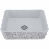 VIGO Zinnia Rectangular Cast Stone Vessel Bowl Bathroom Sink, 14-3/8''W x 17-3/4''D x 5''H