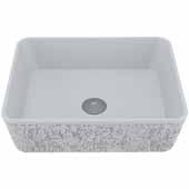 VIGO Zinnia Rectangular Cast Stone Vessel Bowl Bathroom Sink, 14-3/8''W x 17-3/4''D x 5''H