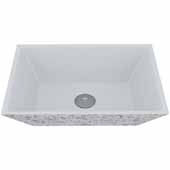 VIGO Calendula Square Cast Stone Vessel Bowl Bathroom Sink, 13-3/4''W x 18''D x 4-5/8''H