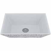 VIGO Calendula Square Cast Stone Vessel Bowl Bathroom Sink, 13-3/4''W x 18''D x 4-5/8''H