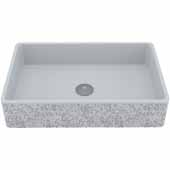 VIGO Dahlia Rectangular Cast Stone Vessel Bowl Bathroom Sink, 13-7/8''W x 21-1/4''D x 4-3/4''H