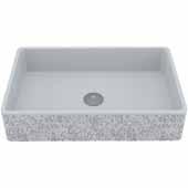 VIGO Dahlia Rectangular Cast Stone Vessel Bowl Bathroom Sink, 13-7/8''W x 21-1/4''D x 4-3/4''H