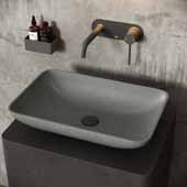 Concreto Stone™ Rectangular Bathroom Vessel Sink, Gray, 22-1/4'' W x 14-1/2'' D x 4-3/4'' H