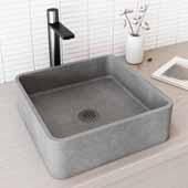 Concreto Stone� Square Bathroom Vessel Sink, Gray, 15-3/8'' W x 15-3/8'' D x 4-3/4'' H