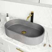 Concreto Stone� Oval Bathroom Vessel Sink, Gray, 23-5/8'' W x 13-3/4'' D x 4-3/4'' H