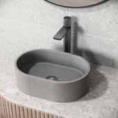 Concreto Stone™ Oval Bathroom Vessel Sink, Gray, 15-3/4'' W x 11'' D x 4-3/4'' H