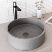 Concreto Stone� Round Bathroom Vessel Sink, Gray, 15-3/8'' W x 15-3/8'' D x 4-3/4'' H