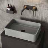 Concreto Stone� Rectangular Bathroom Vessel Sink, Gray, 19-11/16'' W x 13-7/8'' D x 4-3/4'' H