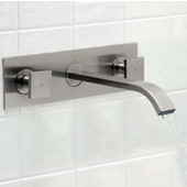 Titus Brushed Nickel Finish Dual Lever Wall Mount Faucet
