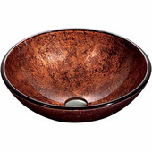 Mahogany Moon Glass Vessel Bathroom Sink - 16-1/2'' Diameter x 6''H