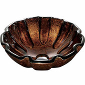 Walnut Shell Glass Vessel Bathroom Sink - 16-1/2'' Diameter x 6''H