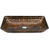 VIG-VG07045, Rectangular Golden Greek Glass Vessel Bathroom Sink, 22-1/4'' W x 14-1/2'' D x 4-1/2'' H