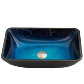 16-1/2''Dia. Rectangular Turquoise Water Glass Vessel Sink