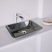 Rectangular Glass Vessel Bathroom Sink in Gray Onyx, 17-7/8'' W x 13'' D x 4'' H