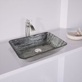 Rectangular Glass Vessel Bathroom Sink in Titanium, 18-1/8'' W x 13'' D x 4-1/8'' H