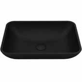 VIGO Sottile MatteShell Vessel Bathroom Sink in Black, 13''W x 18''D x 4''H