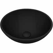 VIGO Cavalli MatteShell Vessel Bathroom Sink in Black, 15''W x 15''D x 5''H