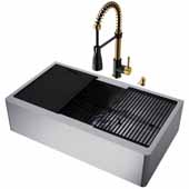 VIGO All-In-One 36'' Oxford Single Bowl Apron Front Stainless Steel Farmhouse Kitchen Sink Set with Accessories and Brant Faucet in Matte Brushed Gold and Matte Black