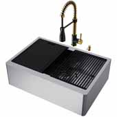 VIGO All-In-One 30'' Oxford Single Bowl Apron Front Stainless Steel Farmhouse Kitchen Sink Set with Accessories and Brant Faucet in Matte Brushed Gold and Matte Black