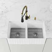 VIGO 33'' Wide Matte Stone™ Farmhouse Square Slotted Apron Front Double Bowl Kitchen Sink with Brant Pull-Down Faucet in Matte Brushed Gold and Matte Black, Grids and Strainers included