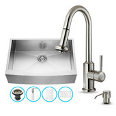 All In One 33-Inch Farmhouse Stainless Steel Kitchen Sink And Faucet Set