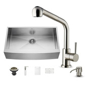 Camden Collection All In One 36-Inch Farmhouse Stainless Steel Kitchen Sink And Faucet Set