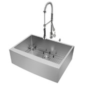 All in One 30'' Farmhouse Stainless Steel Kitchen Sink w/ Curved Corners and Faucet Set, VIG-VG15275