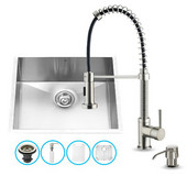 23'' Undermount Stainless Steel Kitchen Sink Set with 18-1/2''H x 9-1/2''Reach Faucet and matching accessories