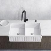 33'' Wide Matte Stone Rectangular Reversible Double-Bowl Front Apron Farmhouse Sink Set w/ Gramercy Single Lever Matte Black Faucet: Strainer and Soap Dispenser Included, Matte Black