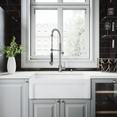 All-In-One 30'' Casement Front Matte Stone Farmhouse Kitchen Sink Set with Zurich Faucet in Stainless Steel, Strainer and Soap Dispenser