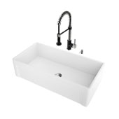 All-In-One 36'' Casement Front Matte Stone Farmhouse Kitchen Sink Set with Edison Faucet in Matte Black/Stainless Steel, Strainer and Soap Dispenser