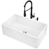 All-In-One 30'' Matte Stone Farmhouse Apron Kitchen Sink Set with Brant Faucet in Matte Black, Strainer and Soap Dispenser