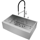 All-In-One 36'' Camden Stainless Steel Farmhouse Apron Kitchen Sink Set with Norwood Faucet in Chrome, Grid, Strainer and Soap Dispenser