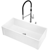 All-in-One 36'' Casement Front Matte Stone Farmhouse Apron Kitchen Sink Set with Norwood Faucet in Chrome, Strainer and Soap Dispenser