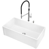 All-in-One 33'' Casement Front Matte Stone Farmhouse Apron Kitchen Sink Set with Norwood Faucet in Stainless Steel, Strainer and Soap Dispenser